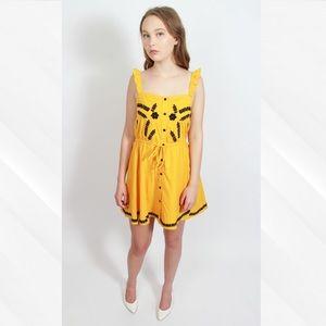 Sugar+Lips Yellow Embroidered Mini Dress